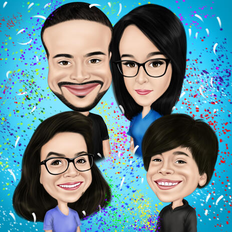 Family Caricature from Photos with One Color Background - example