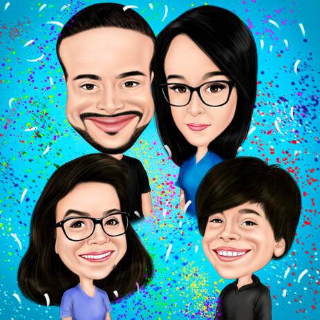 Цветная карикатура семьи на однотонном фоне, нарисованная с фото. - example