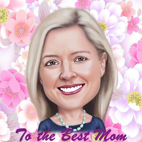 Mother's Day Cartoon in Colored Digital Style with Flowers Background - example