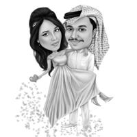 Мужчина несет женщину с руками, нарисованную от руки карикатуру в черно-белом стиле по фотографиям