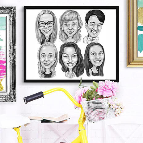 Group Colleagues Caricature in Black and White as Poster Print - example