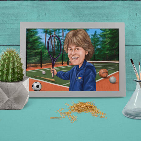 Poster Print Sport Person Colored Caricature with Custom Background Hand Drawn from Photos - example