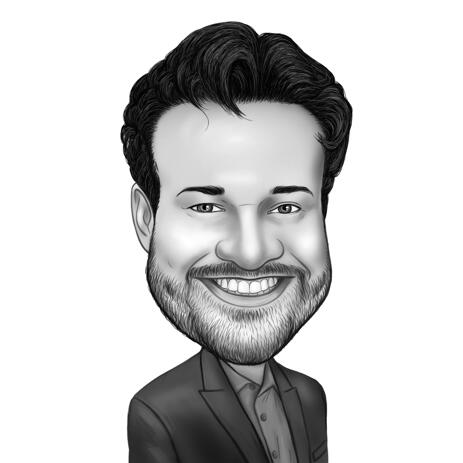 Man Caricature from Photos in Black and White Style - example