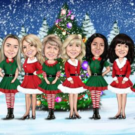 Christmas Group Caricature Card from Photo in Digital Style