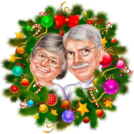 Couple Christmas Caricature in Christmas Wreath - example