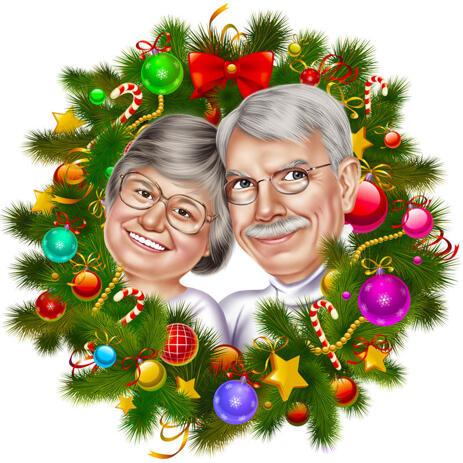 Paar Weihnachtskarikatur im Weihnachtskranz - example