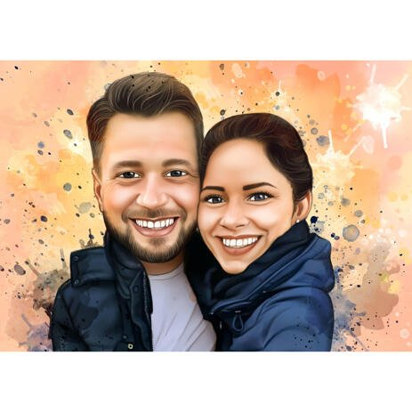 Hugging Couple Caricature Portrait with Background in Natural Watercolors - example