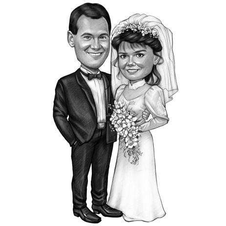 Black and White Couple Cartoon Portrait from Photos for Silver Wedding Anniversary Gift - example