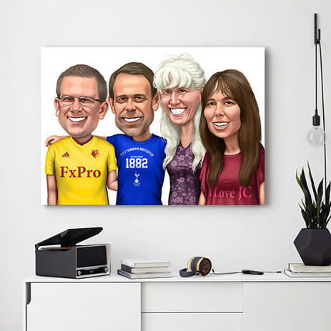 Printed Canvas: Custom Group Caricature Portrait from Photos - example