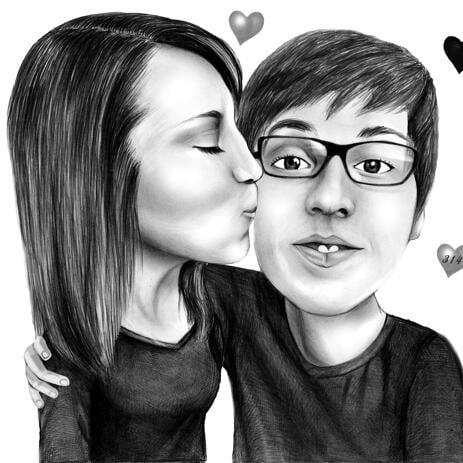 黒と白の鉛筆のスタイルで頬のカップルの描画でロマンチックなキス - example