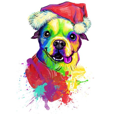 Rainbow Christmas Pet Portrait from Photos in Santa's Hat - example