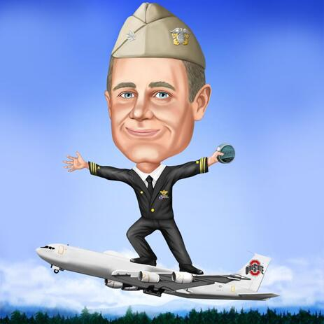 Pilot on Airplane: Full Body Pilot Caricature from Photos - example