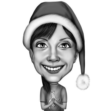 Monochrome Digital Cartoon Drawing in Christmas Theme - example