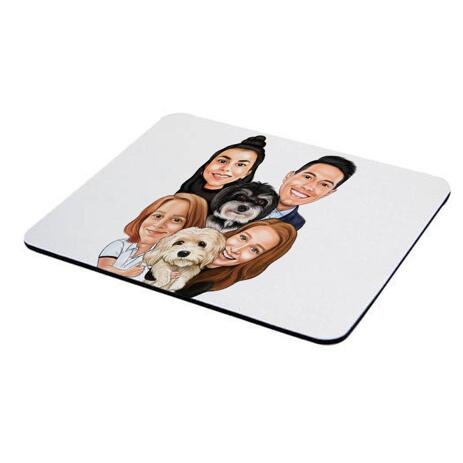 Family with Pets Caricature as Mouse Pad - example