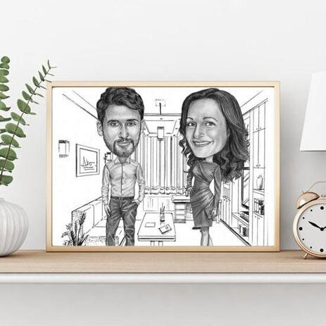 Colleagues Caricature on poster - example