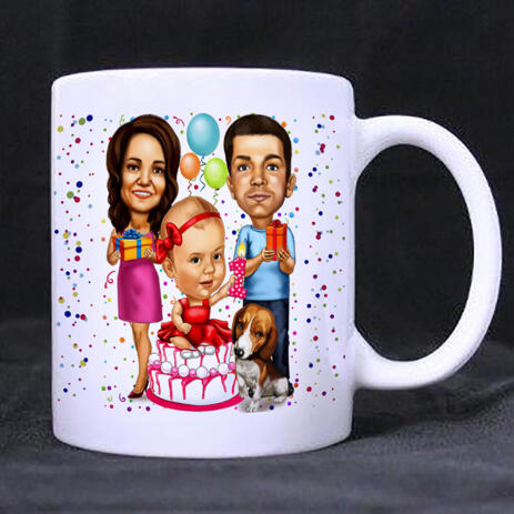 Birthday Family Caricature Printed on Mug - example