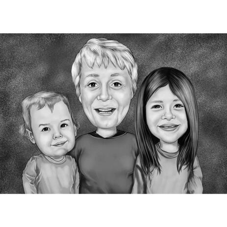 Black and White Grandmother with Kids Caricature from Photos with Background - example