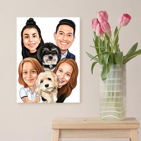 Family with Pets Caricature as Canvas - example