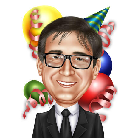 Birthday Caricature from Photos in Colored Digital Style - example