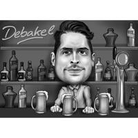 Mukautetun henkilön karikatyyri pubissa, piirretty mustavalkoisena valokuvista