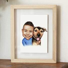 Kid with Dog Caricature on Poster