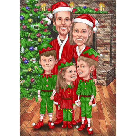 Christmas Elf Caricature from Photos for Friends and Family Christmas Gift - example