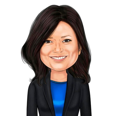 Businesswoman Caricature from Photos: Colored Style - example
