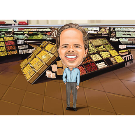 Exaggerated Merchant Caricature in Color Style on Custom Background - example