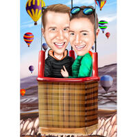 Varmluftsballongtur - Par karikatyr från foto