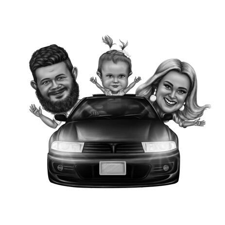 Casal com criança em caricatura de fotos em estilo preto e branco - example