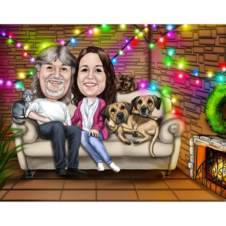 Couple with Pets: Cozy Caricature with Christmas Light Background - example