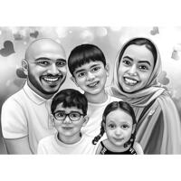 Hand-Drawn Family Portrait in Black and White Digital Style with Hearts Background from Photos