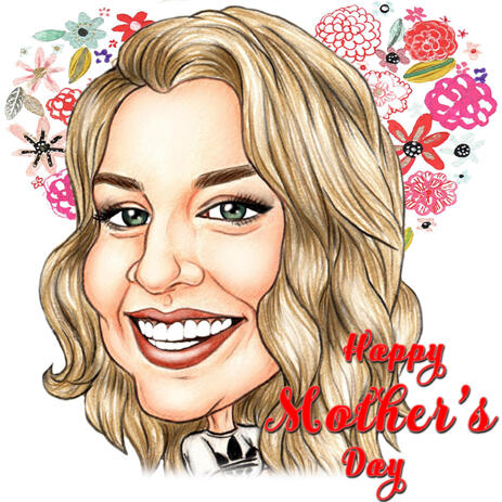 Funny Colored Pencils Caricature Drawing of Mom in Honor of Mother's Day - example