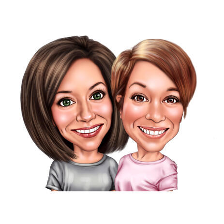 2 Person Cartoon Caricature from Photos in Color Style - example