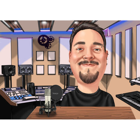 Radio Podcast Caricature from Photos - example