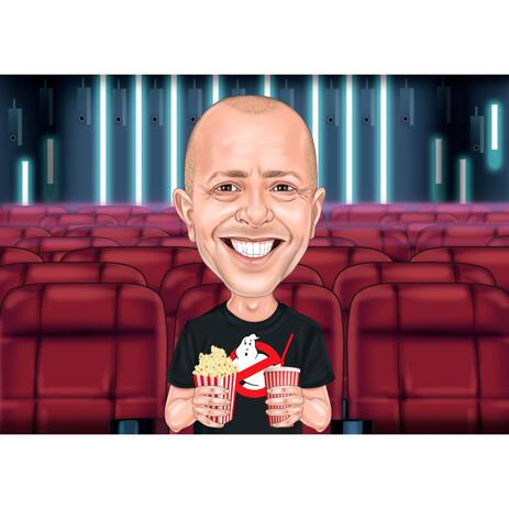 Person tegneserie tegning i hoved og skuldre farvet karikatur stil med biograf baggrund - example