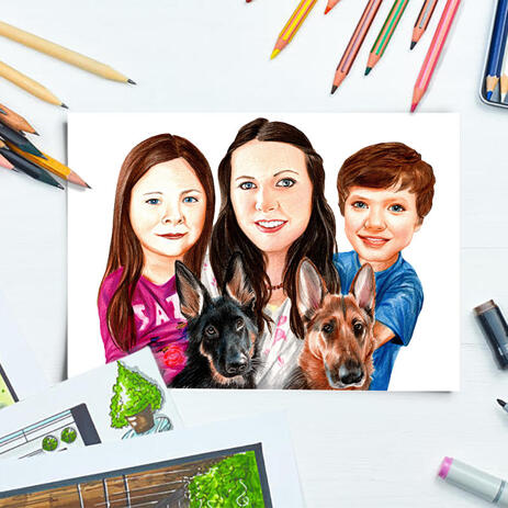 Family with Pets Caricature Hand-Drawn from Photos as Poster Print - example