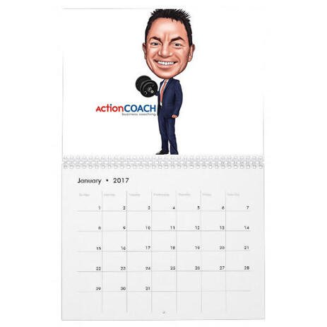 Employee Caricature on Calendar - example