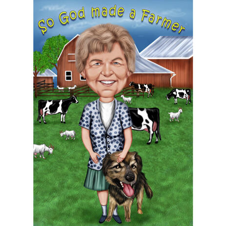 Custom Farmer with Dog Caricature Hand Drawn in Colored Style from Photos - example