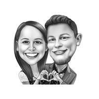 Couple Showing Hand Heart Caricature in Black and White Digital Style from Photo