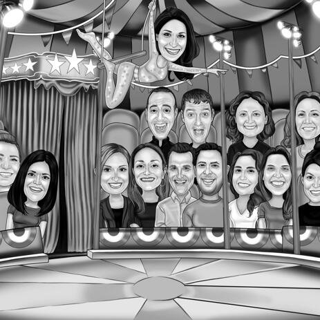 Circus Group Caricature from Photos - example
