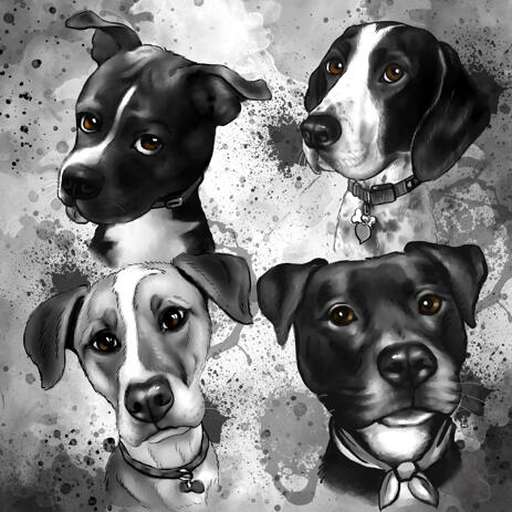 Group of Dogs Graphite Portrait Painting Hand-Drawn in Grayscale Watercolor Style from Photos - example