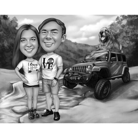 Couple with Vehicle Caricature from Photos with Background - example