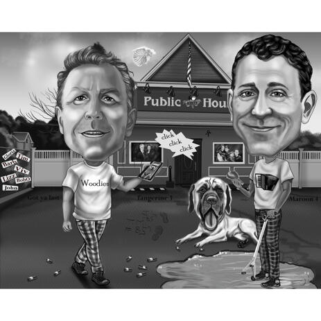 Two Persons with Pet Exaggerated Style Caricature in Black and White - example