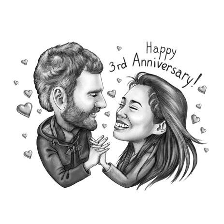 Happy Anniversary - Romantic Couple Caricature from Photos - example