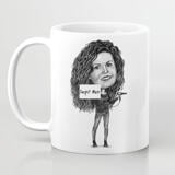Personalized Print on Mug: Monochrome Woman Cartoon Drawing