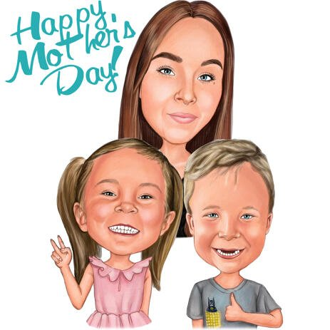 Mom with Kids - Family Caricature for Mother's Day Gift - example