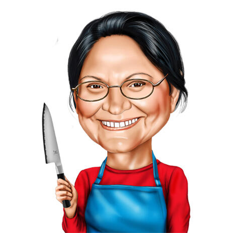 Custom Butcher Caricature in Colored Digital Style from Photos - example