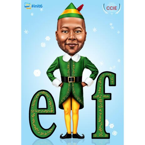 Funny Elf Caricature Portrait in Full Body with Colored Background for Christmas Card Gift - example