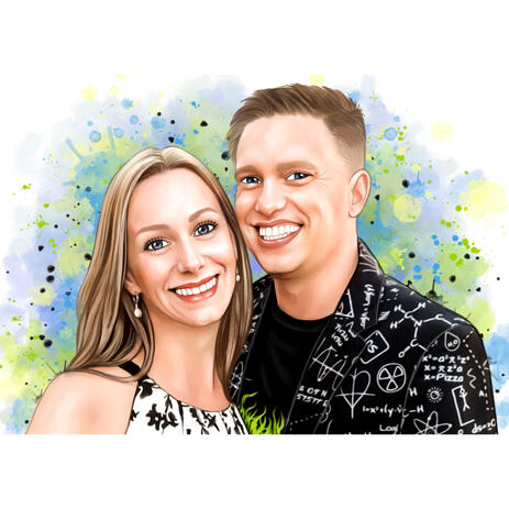 Couple Watercolor Style Cartoon Portrait with Earthy Colours from Photo - example